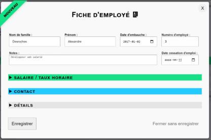 Création d'une fiche d'employé