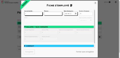 Capture d'écran d'une fiche d'employé