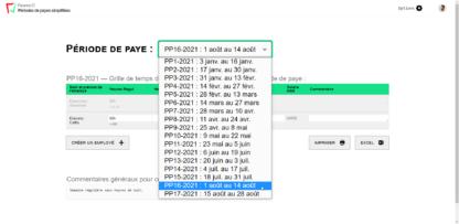 Liste déroulante pour sélectionner vos périodes de payes