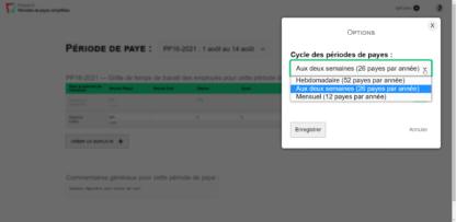 Options pour définir votre cycle des périodes de payes