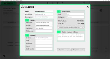 Interface de la gestion d'un contact.