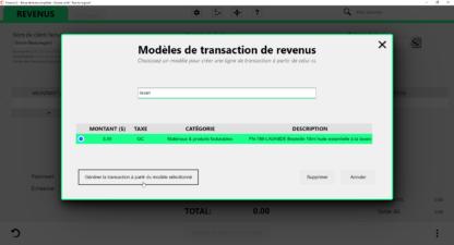 Création d'une transaction à partir d'un modèle