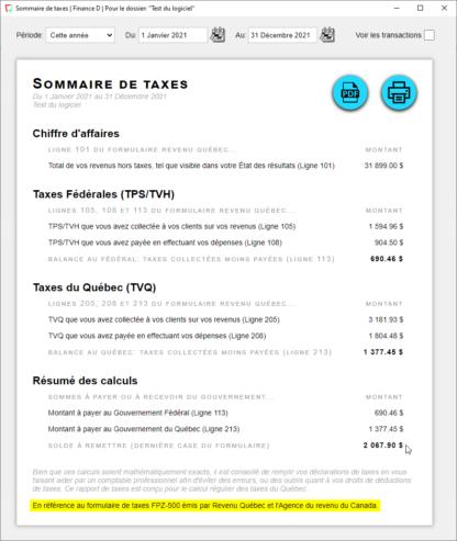 Vue du Sommaire de taxes pour remplir le formulaire FPZ-500